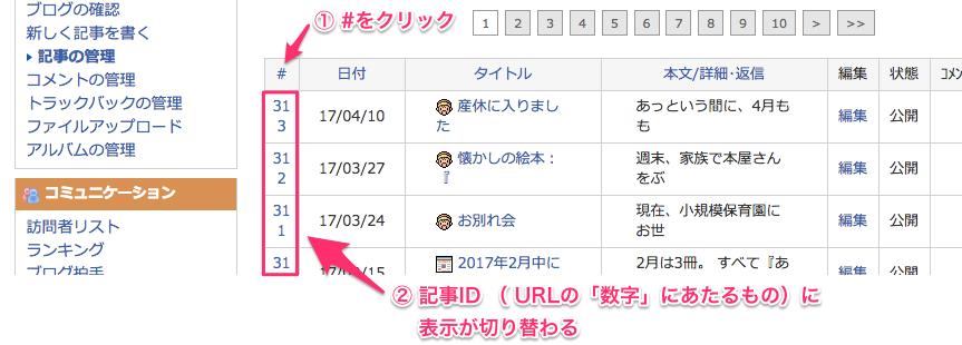 FC2ブログの各記事の数字IDを調べるときの管理画面