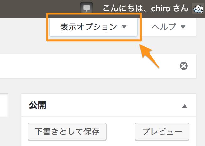 WordPress「表示オプション」の場所