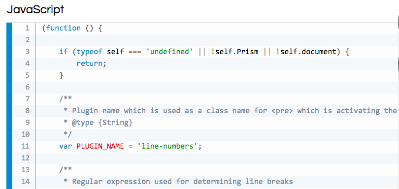 Prism.jsの「Line Numbers」の表示例