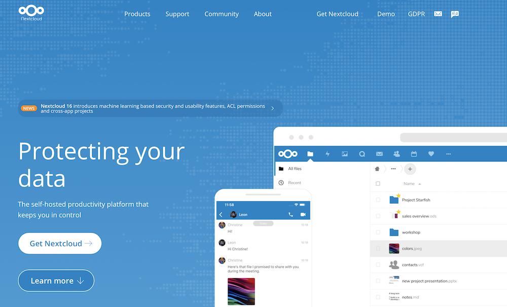 Nextcloudのtopページ