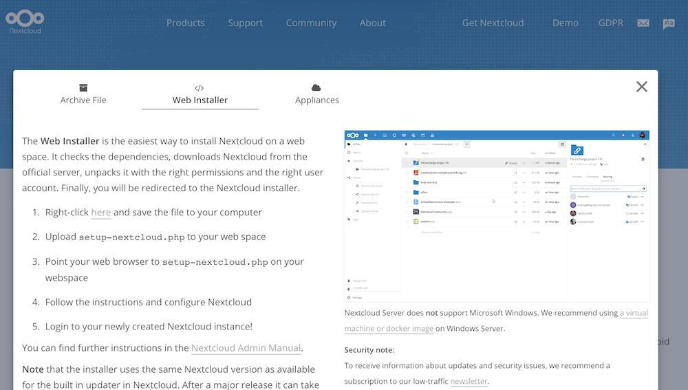 Nextcloudのファイルをインストールする画面