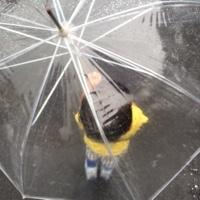 傘をさす2歳児